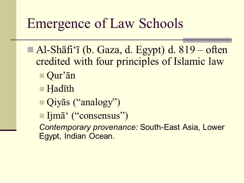 Emergence of Law Schools Al-Shāfi'ī (b. Gaza, d. Egypt) d.