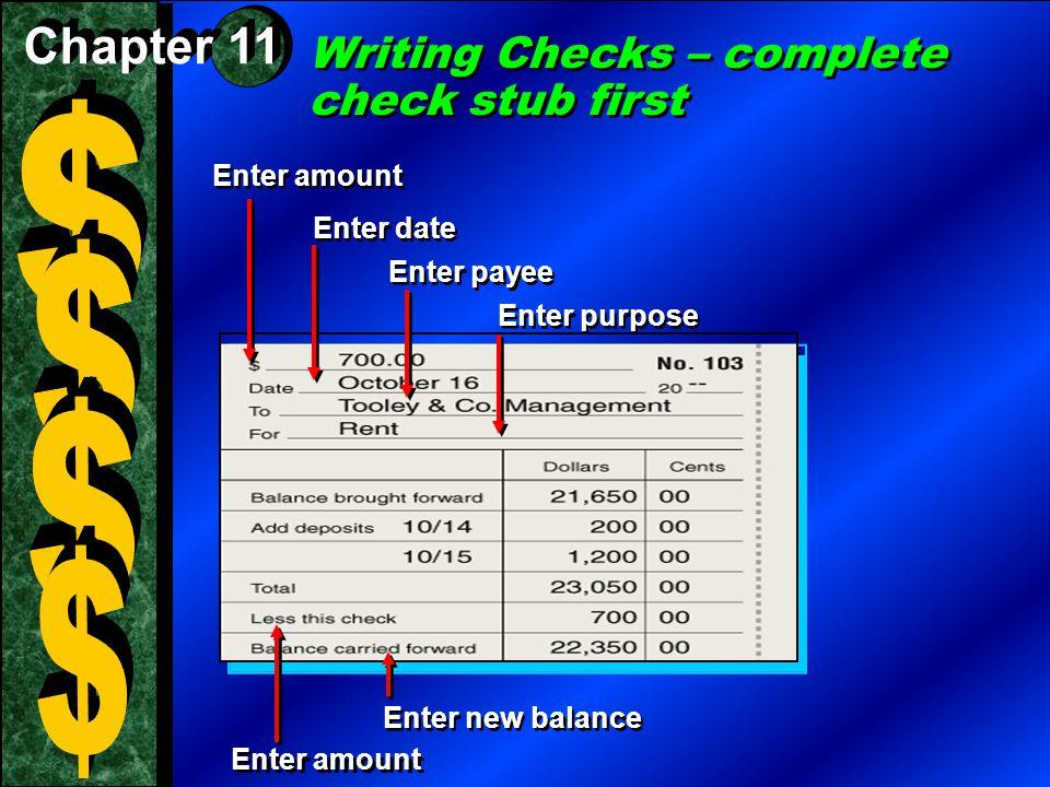 Writing Checks – complete check stub first Enter date Enter amount Enter payee Enter purpose Enter new balance