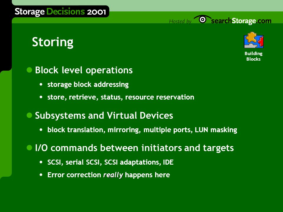 Storing Block level operations storage block addressing store, retrieve, status, resource reservation Subsystems and Virtual Devices block translation