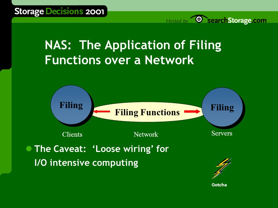 NAS: The Application of Filing Functions over a Network The Caveat: 'Loose wiring' for I/O intensive computing Gotcha Filing Functions Clients Servers