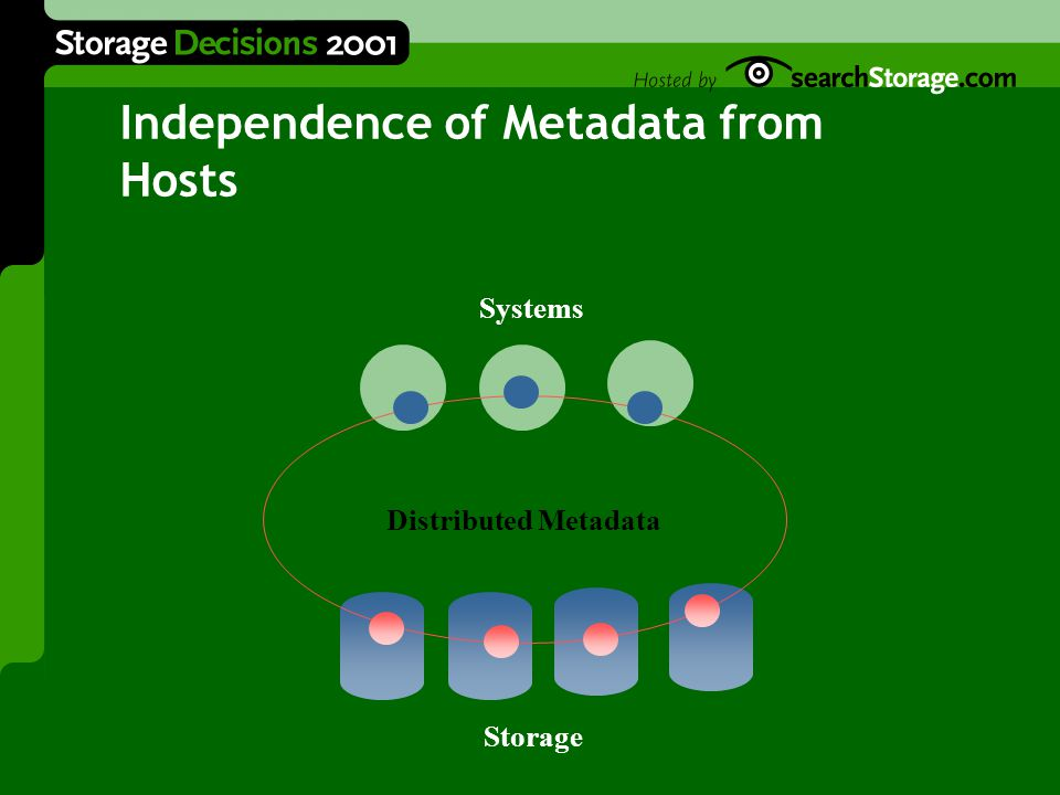 Independence of Metadata from Hosts Systems Storage Distributed Metadata