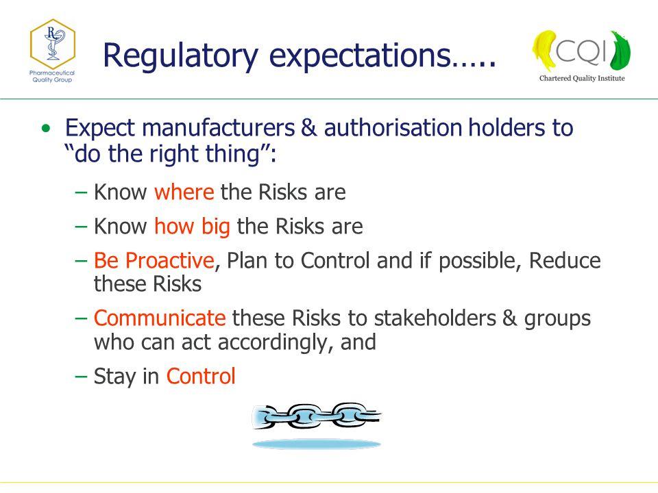 Regulatory expectations…..