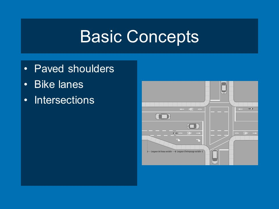Basic Concepts Paved shoulders Bike lanes Intersections