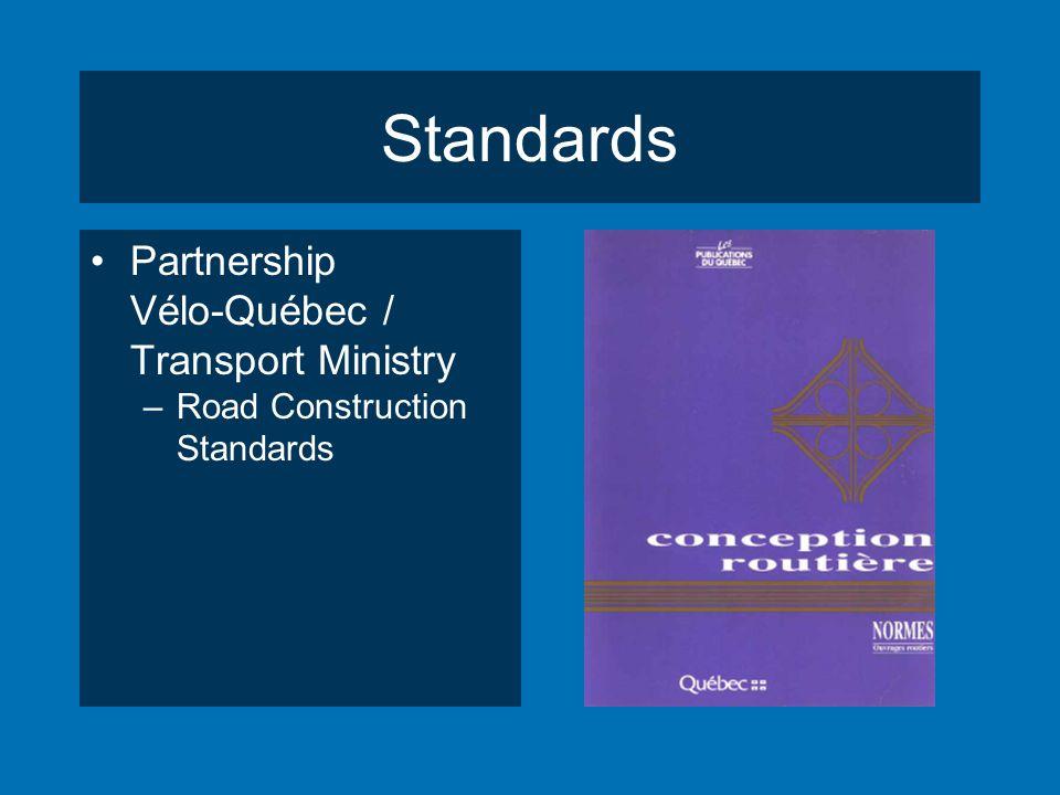Standards Partnership Vélo-Québec / Transport Ministry –Road Construction Standards