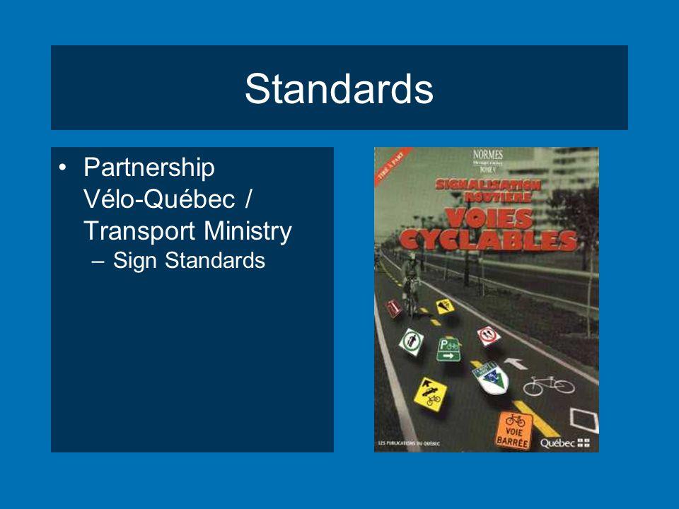 Standards Partnership Vélo-Québec / Transport Ministry –Sign Standards