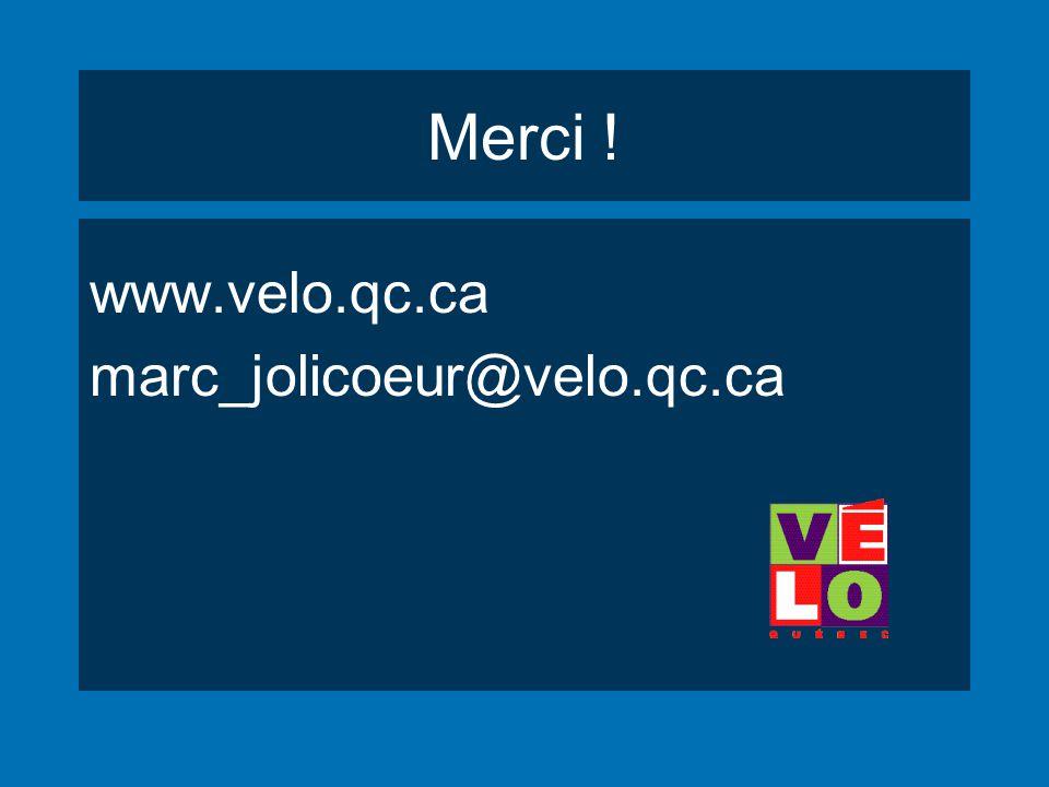 Merci ! www.velo.qc.ca marc_jolicoeur@velo.qc.ca