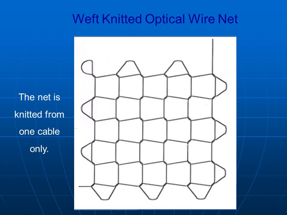 Weft Knitted Optical Wire Net The net is knitted from one cable only.