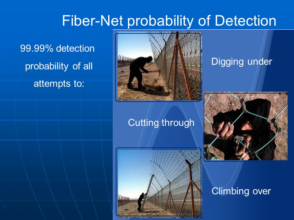 Climbing over Cutting through Digging under Fiber-Net probability of Detection 99.99% detection probability of all attempts to: