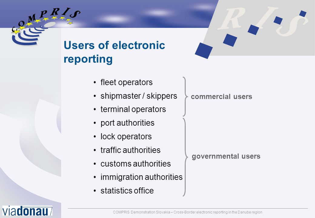 COMPRIS Demonstration Slovakia – Cross-Border electronic reporting in the Danube regionpage: 16 Electronic reporting in general Electronic reporting in the COMPRIS OTP Danube Electronic reporting components Benefits