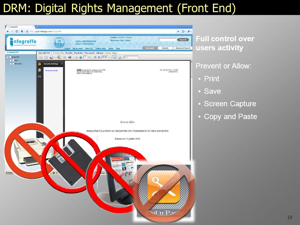 10 Print Save Screen Capture Copy and Paste DRM: Digital Rights Management (Front End) Full control over users activity Prevent or Allow: