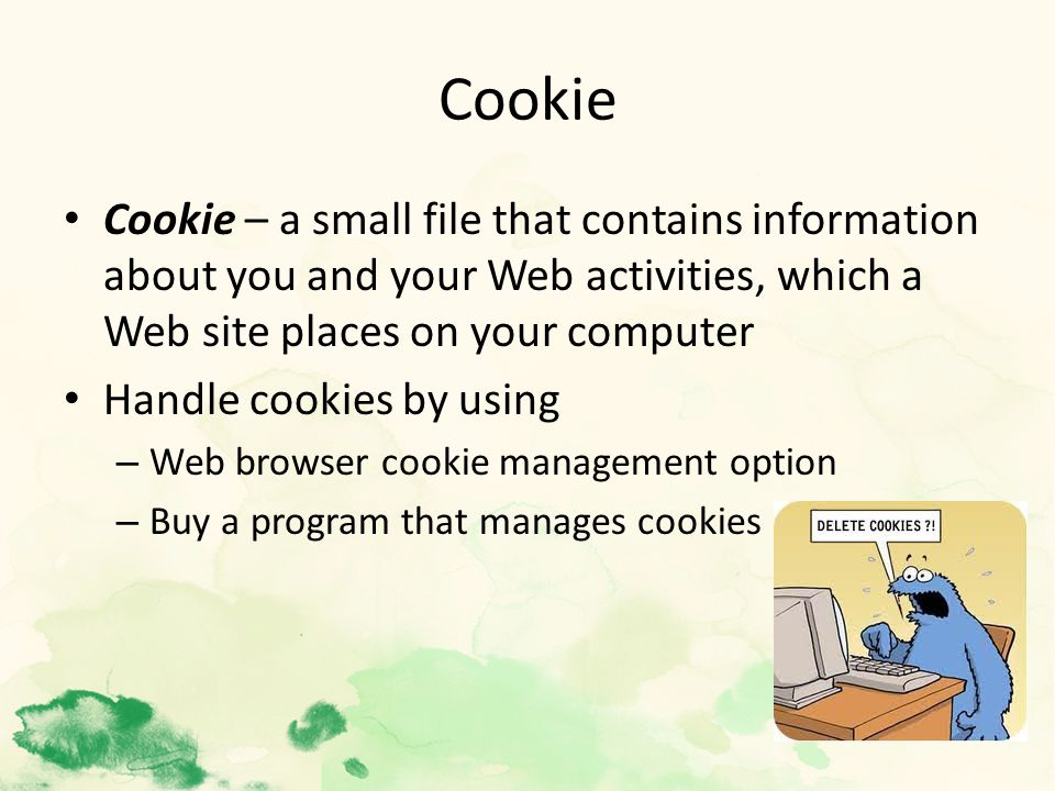 Cookie Cookie – a small file that contains information about you and your Web activities, which a Web site places on your computer Handle cookies by using – Web browser cookie management option – Buy a program that manages cookies