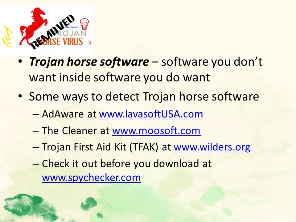 Trojan horse software – software you don't want inside software you do want Some ways to detect Trojan horse software – AdAware at www.lavasoftUSA.comwww.lavasoftUSA.com – The Cleaner at www.moosoft.comwww.moosoft.com – Trojan First Aid Kit (TFAK) at www.wilders.orgwww.wilders.org – Check it out before you download at www.spychecker.com www.spychecker.com