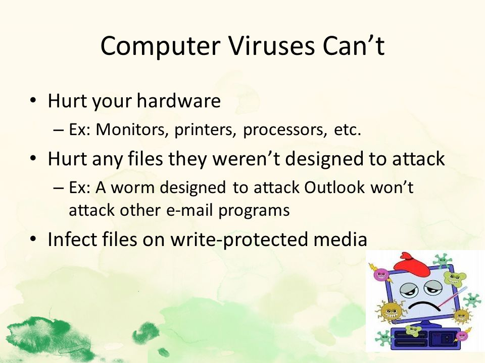Computer Viruses Can't Hurt your hardware – Ex: Monitors, printers, processors, etc.