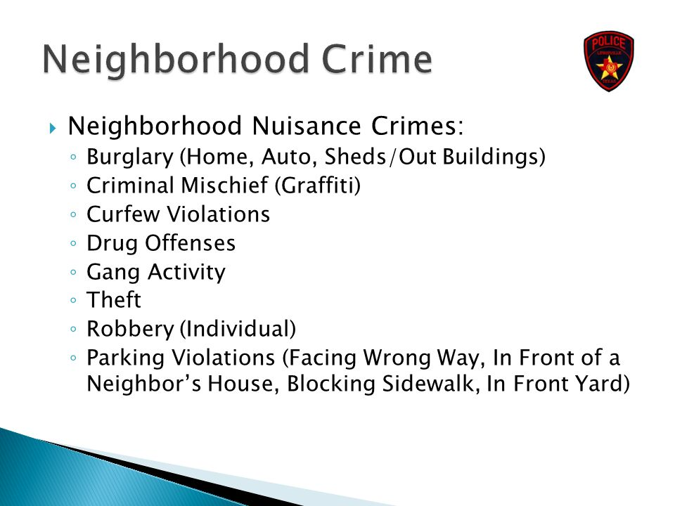  Neighborhood Nuisance Crimes: ◦ Burglary (Home, Auto, Sheds/Out Buildings) ◦ Criminal Mischief (Graffiti) ◦ Curfew Violations ◦ Drug Offenses ◦ Gang