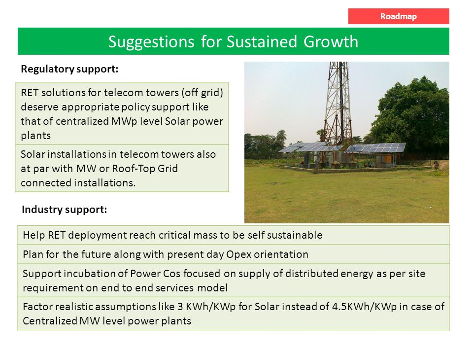 Suggestions for Sustained Growth Roadmap RET solutions for telecom towers (off grid) deserve appropriate policy support like that of centralized MWp level Solar power plants Solar installations in telecom towers also at par with MW or Roof-Top Grid connected installations.