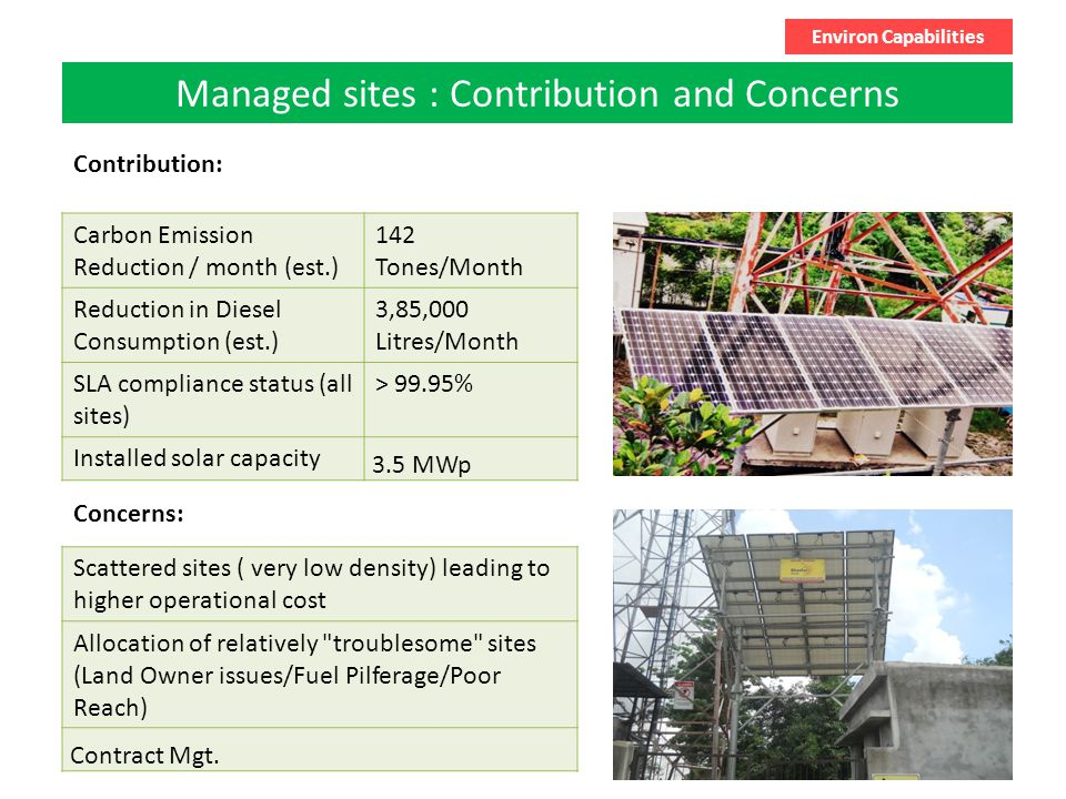 6 Managed sites : Contribution and Concerns Environ Capabilities Carbon Emission Reduction / month (est.) 142 Tones/Month Reduction in Diesel Consumption (est.) 3,85,000 Litres/Month SLA compliance status (all sites) > 99.95% Installed solar capacity 3.5 MWp Contribution: Concerns: Scattered sites ( very low density) leading to higher operational cost Allocation of relatively troublesome sites (Land Owner issues/Fuel Pilferage/Poor Reach) Contract Mgt.