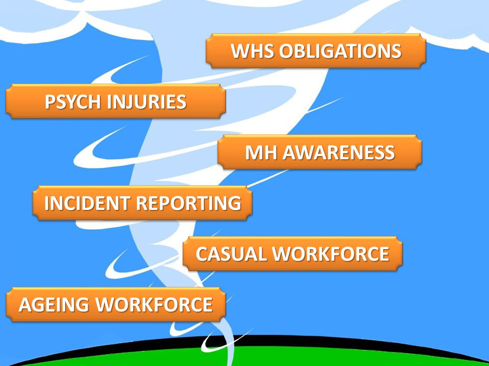 AGEING WORKFORCE CASUAL WORKFORCE INCIDENT REPORTING MH AWARENESS PSYCH INJURIES WHS OBLIGATIONS