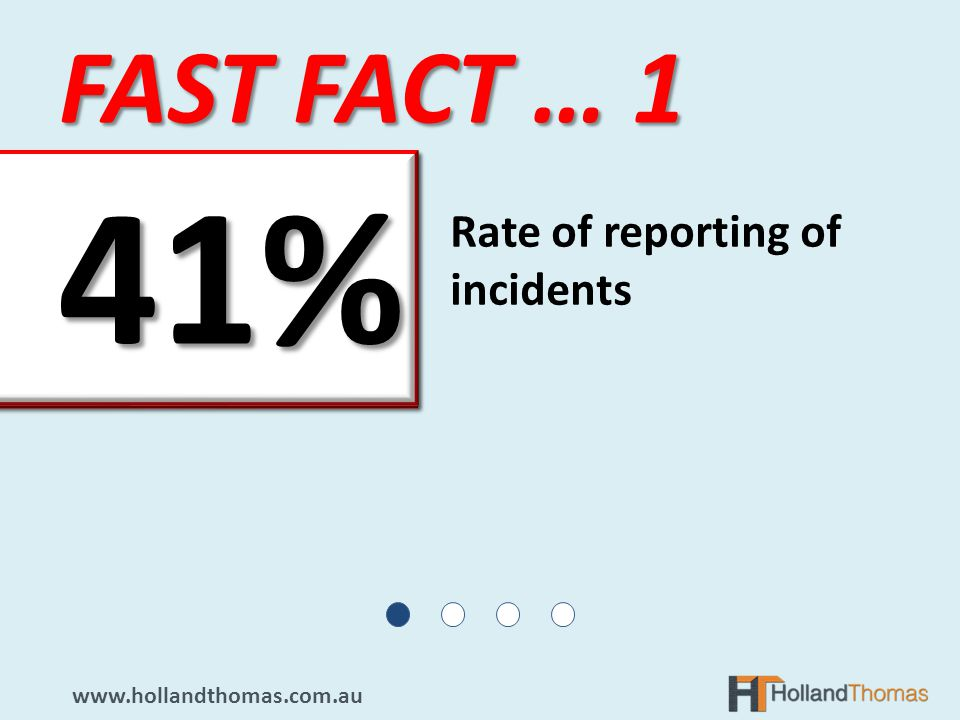 FAST FACT … 1 www.hollandthomas.com.au Rate of reporting of incidents 41%41%