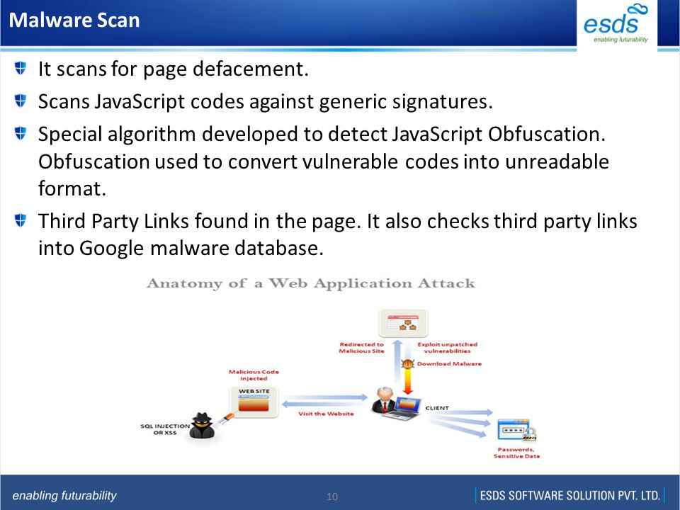 10 Malware Scan It scans for page defacement. Scans JavaScript codes against generic signatures.