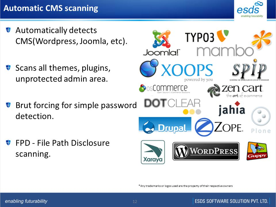 12 Automatic CMS scanning Automatically detects CMS(Wordpress, Joomla, etc).