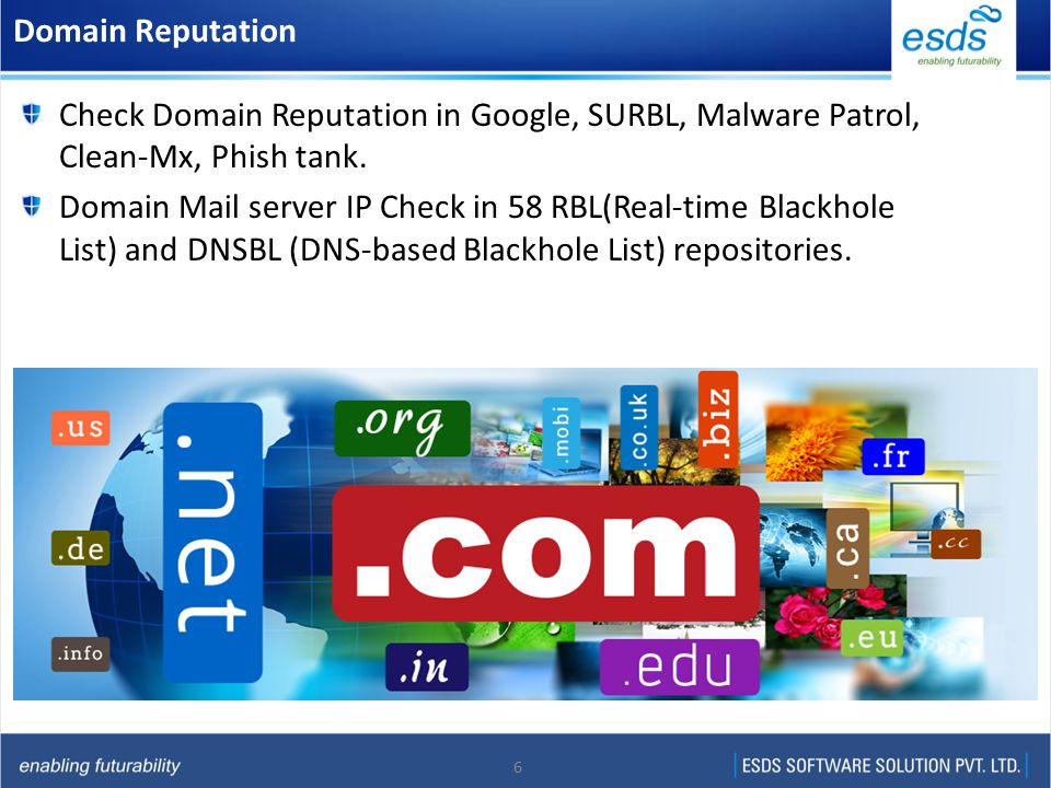 6 Domain Reputation Check Domain Reputation in Google, SURBL, Malware Patrol, Clean-Mx, Phish tank. Domain Mail server IP Check in 58 RBL(Real-time Bl