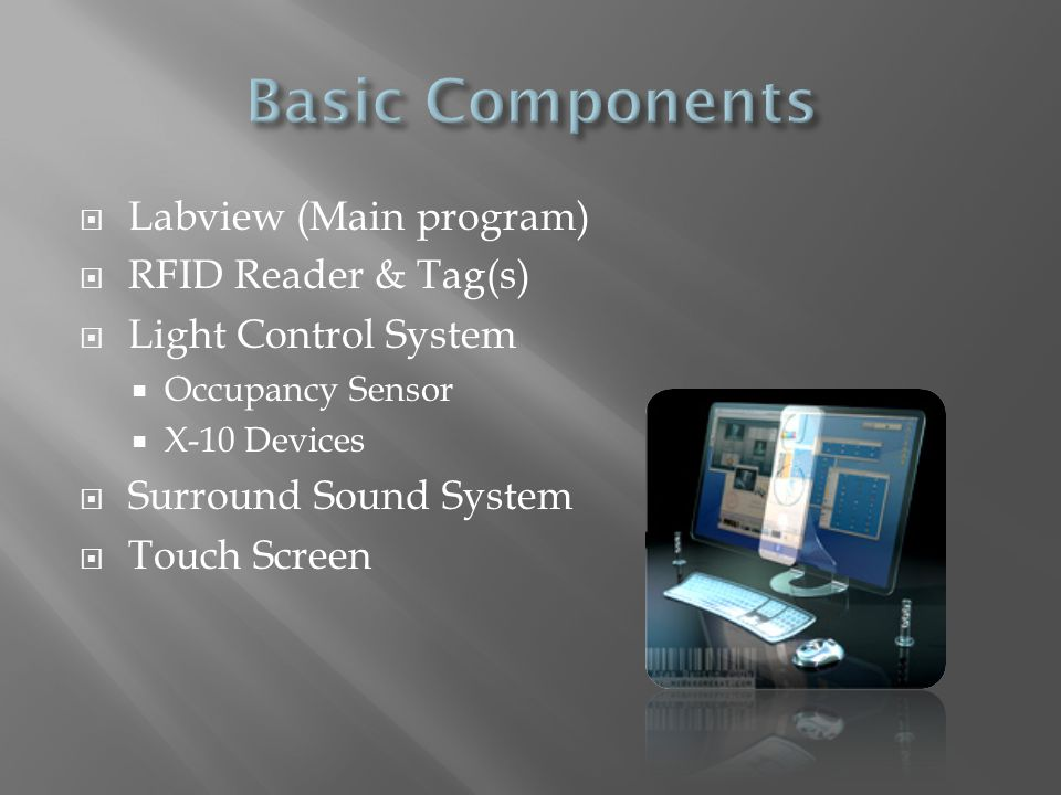  Labview (Main program)  RFID Reader & Tag(s)  Light Control System  Occupancy Sensor  X-10 Devices  Surround Sound System  Touch Screen