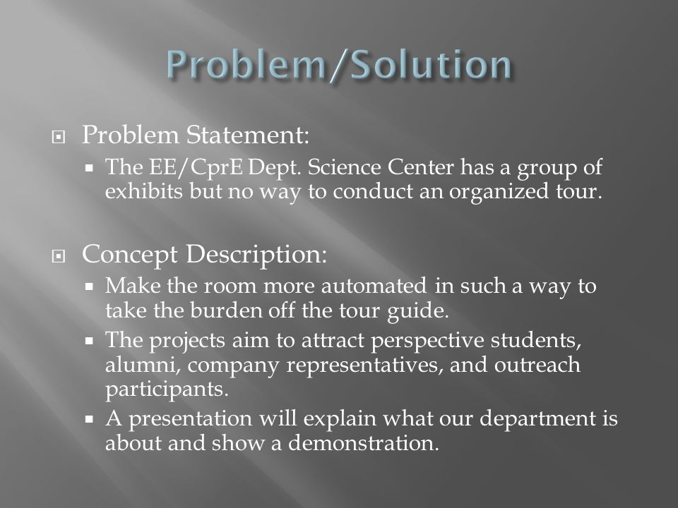  Problem Statement:  The EE/CprE Dept.