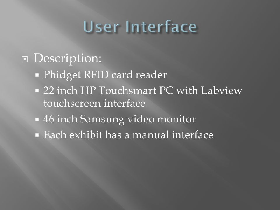  Labview is used to control the operation of the room and communicate between computers  Inputs  RFID Reader  Project Data  User  Outputs  Video  Lighting