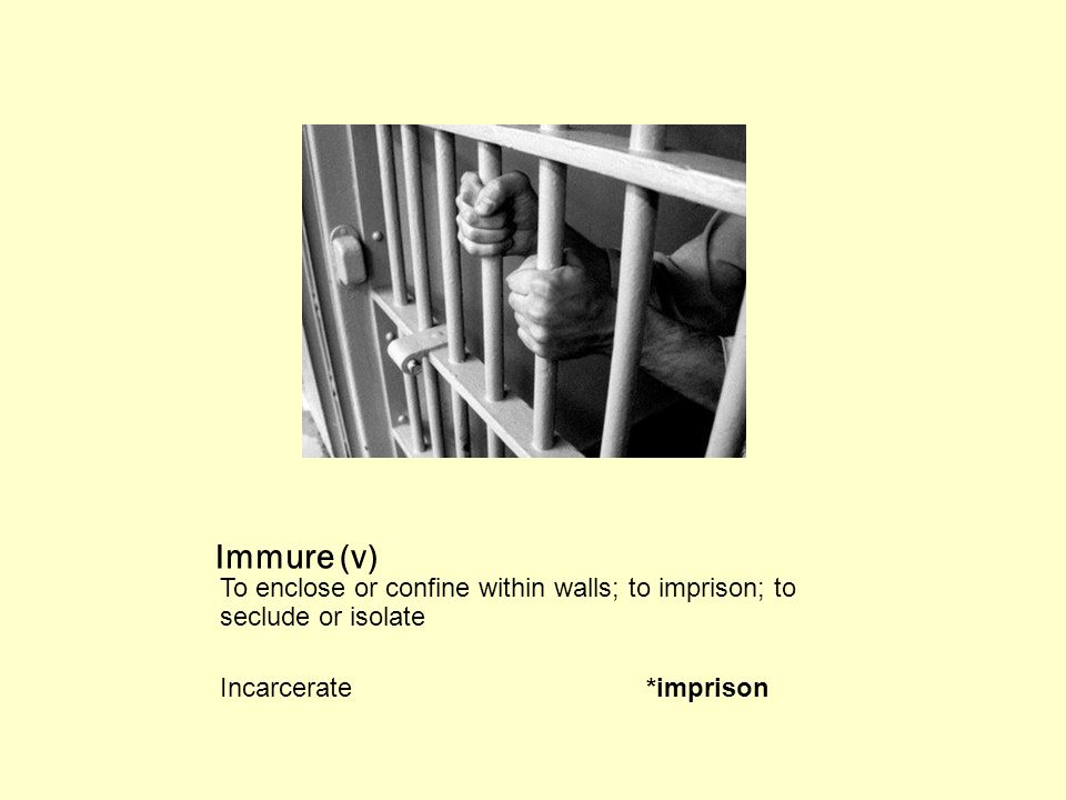 Immure (v) To enclose or confine within walls; to imprison; to seclude or isolate Incarcerate*imprison
