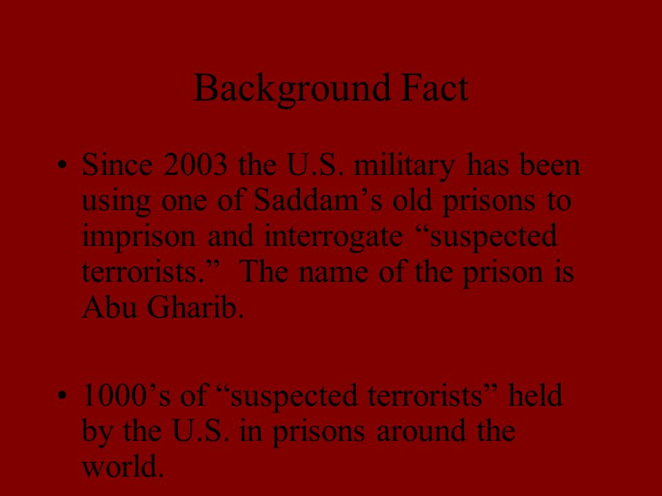 Background Fact Since 2003 the U.S.