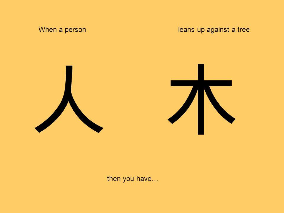 人 When a personleans up against a tree then you have… 木
