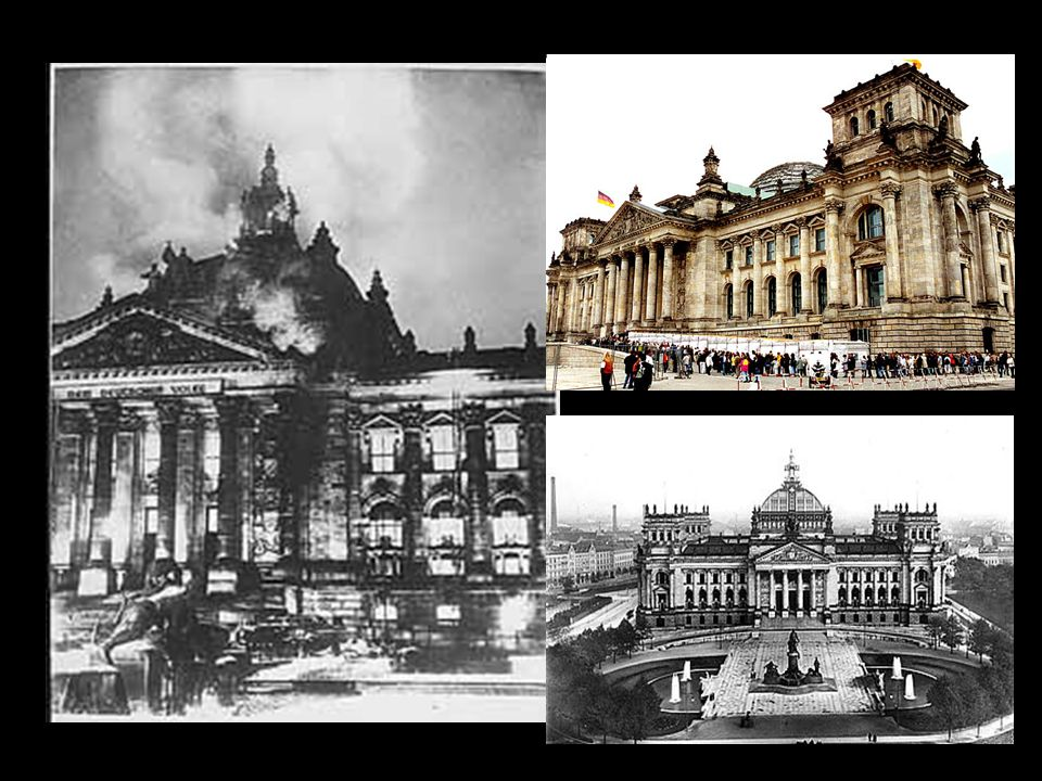 1.The Reichstag Fire The Reichstag building was burnt down  the Communists were blamed Hitler convinced President Hindenburg to give him emergency po
