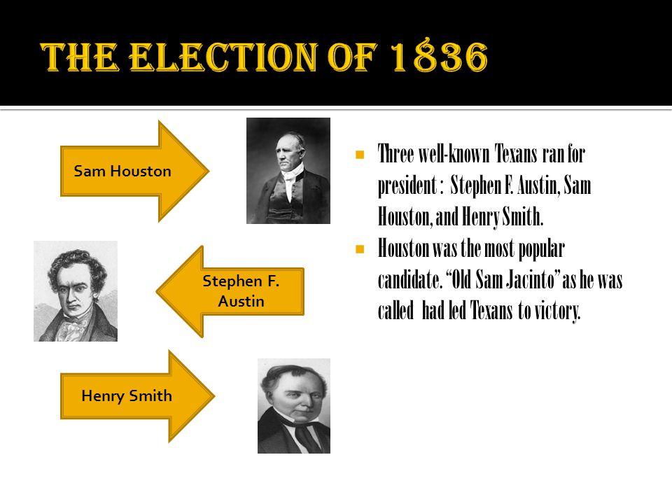 " Three well-known Texans ran for president : Stephen F. Austin, Sam Houston, and Henry Smith.  Houston was the most popular candidate. ""Old Sam Jaci"