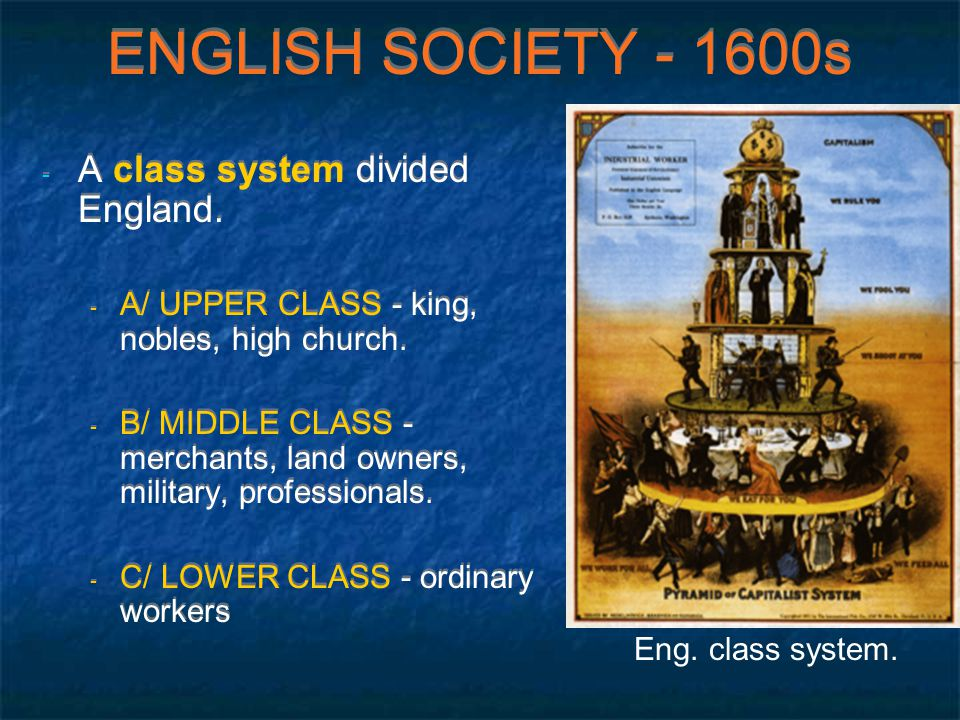 ENGLISH SOCIETY - 1600s - A class system divided England.