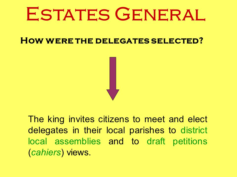 How were the delegates selected? The king invites citizens to meet and elect delegates in their local parishes to district local assemblies and to dra