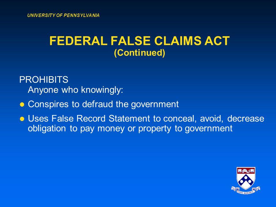 UNIVERSITY OF PENNSYLVANIA FEDERAL FALSE CLAIMS ACT (31 U.S.C.