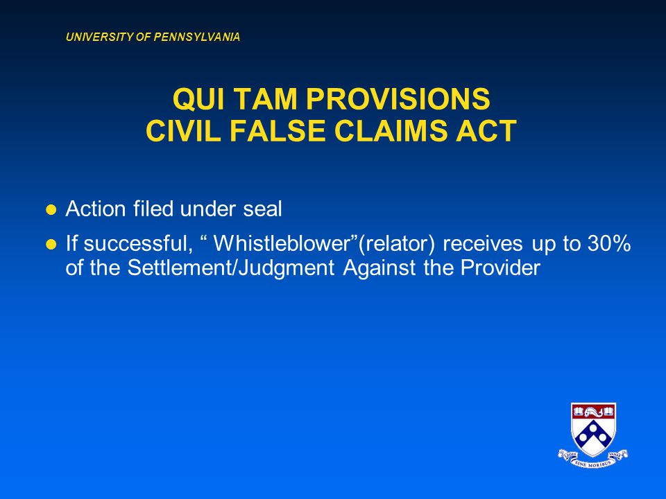 UNIVERSITY OF PENNSYLVANIA FEDERAL FALSE CLAIMS ACT (18 U.S.C.
