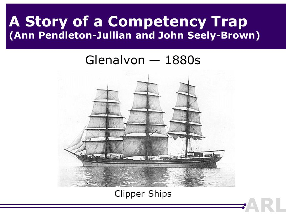 ARL A Story of a Competency Trap (Ann Pendleton-Jullian and John Seely-Brown) Glenalvon — 1880s Clipper Ships