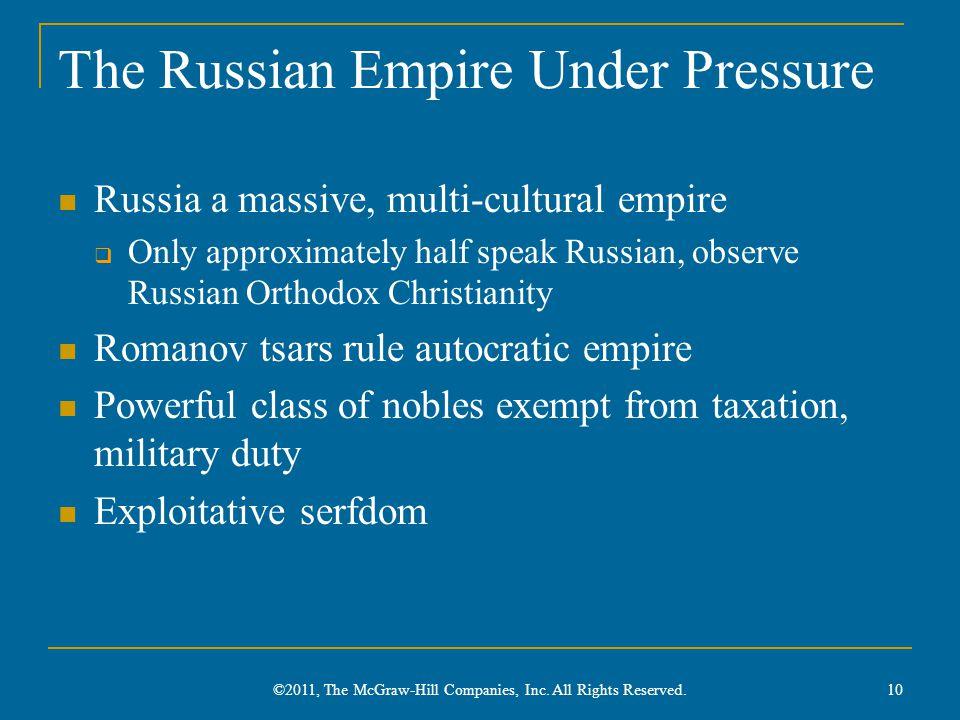 The Russian Empire Under Pressure Russia a massive, multi-cultural empire  Only approximately half speak Russian, observe Russian Orthodox Christiani