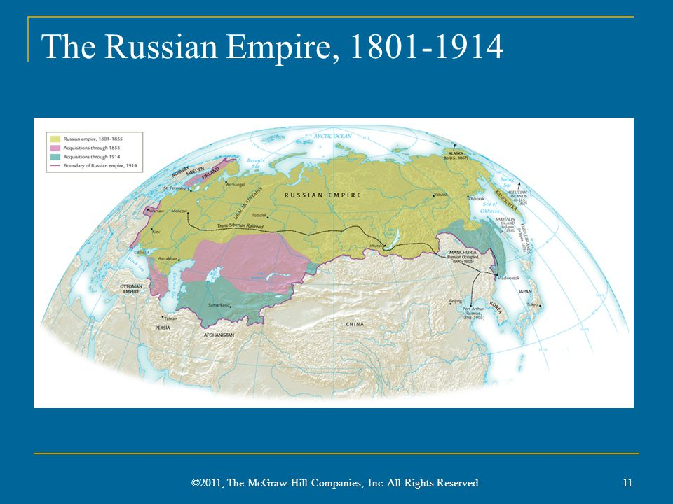 The Russian Empire, 1801-1914 ©2011, The McGraw-Hill Companies, Inc. All Rights Reserved. 11