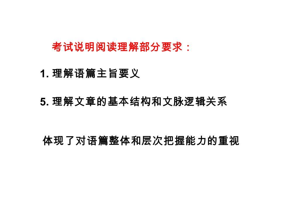 1. 理解段内和段间的逻辑关系。 2. 找出每段的主题句或关键词。 3. 应用相关策略阅读文章。 Aims: