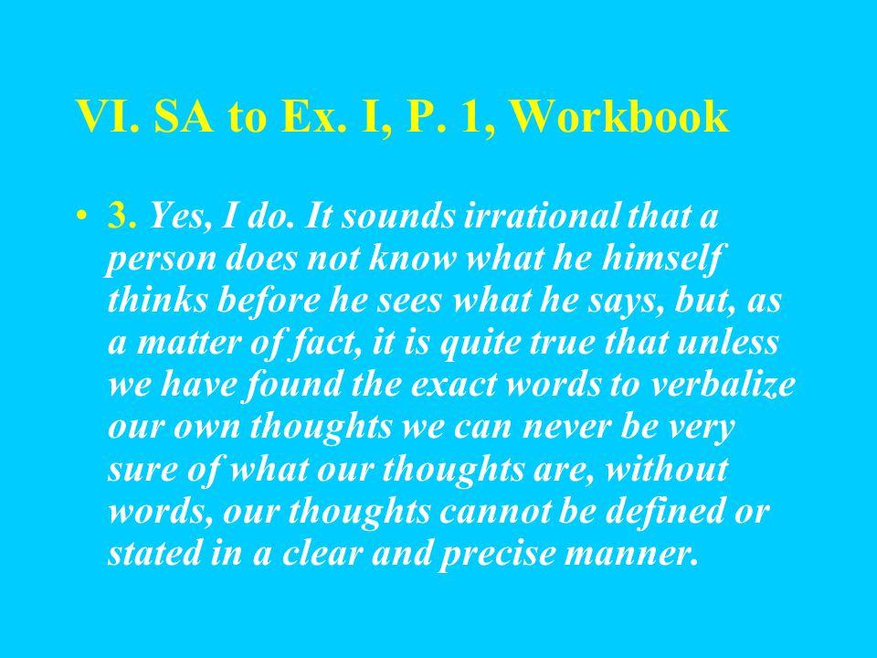 VI. SA to Ex. I, P. 1, Workbook 1.