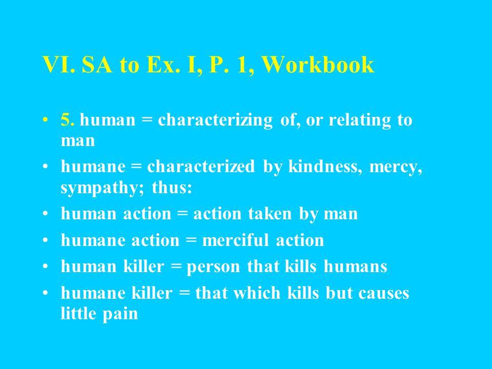 VI. SA to Ex. I, P. 1, Workbook 4.