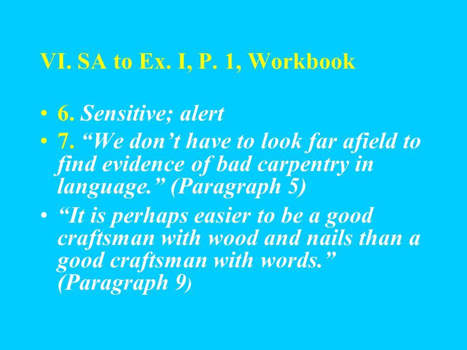 VI. SA to Ex. I, P. 1, Workbook 5.