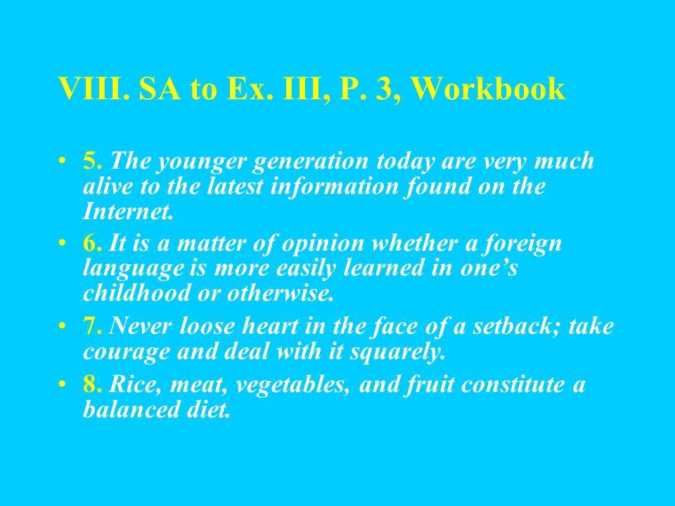 VIII. SA to Ex. III, P. 3, Workbook 1.