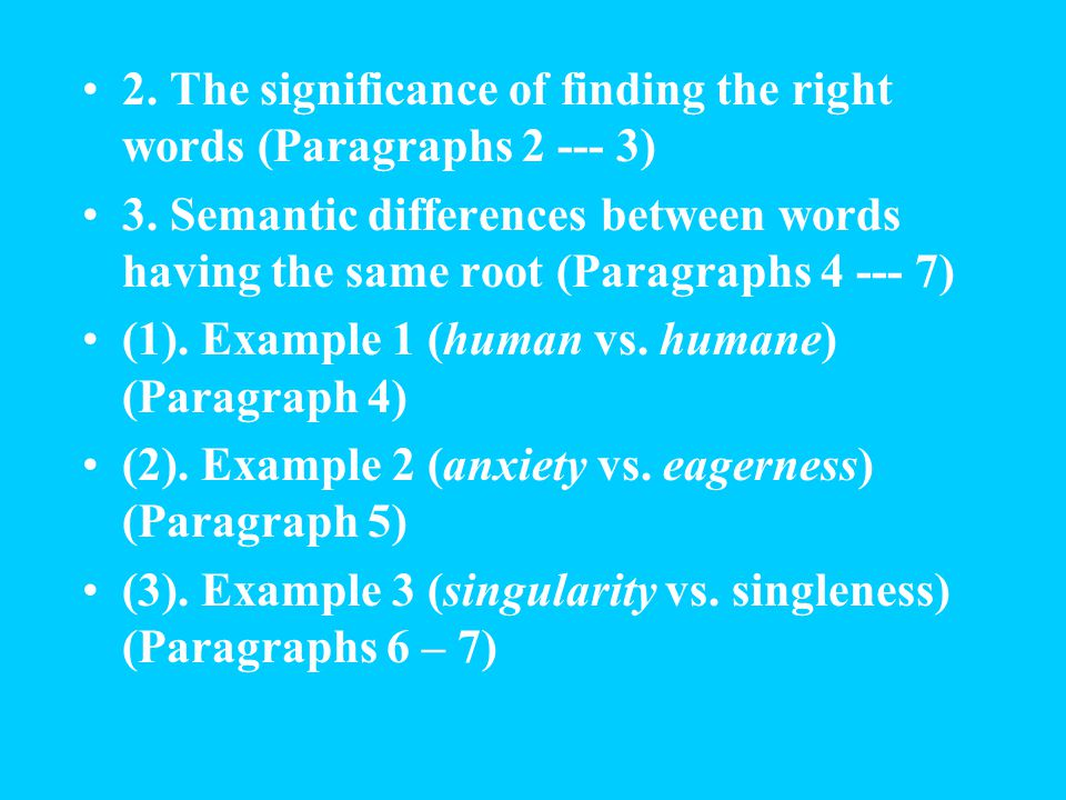 2.The significance of finding the right words (Paragraphs 2 --- 3) 3.