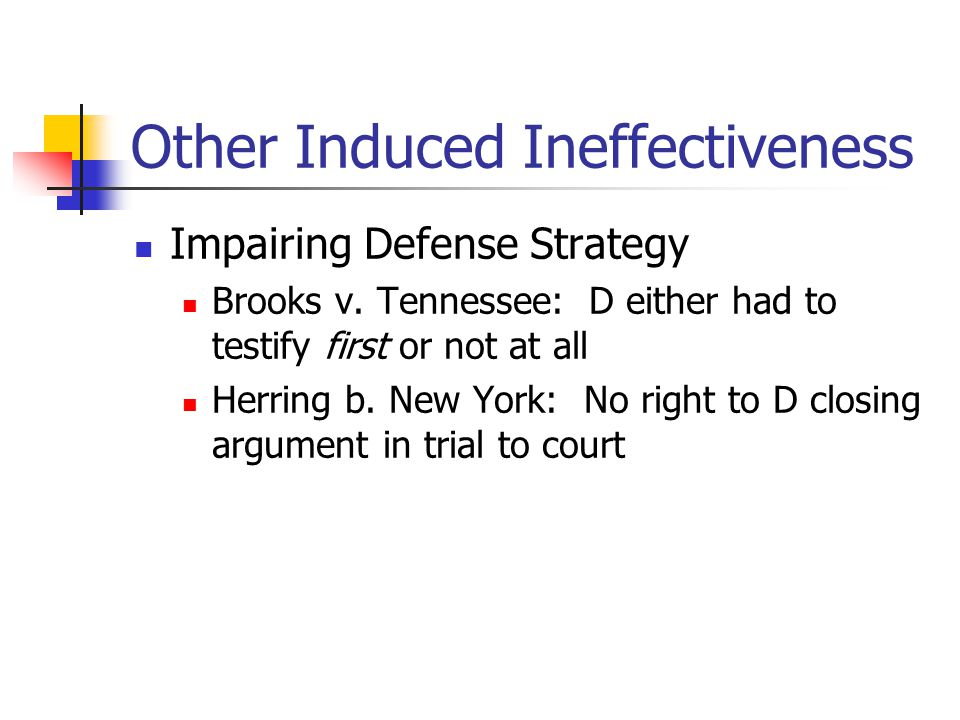 Other Induced Ineffectiveness Impairing Defense Strategy Brooks v.
