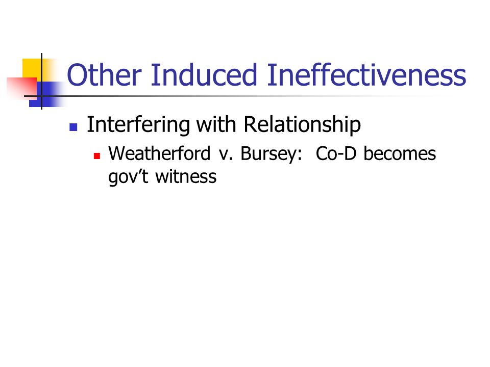 Other Induced Ineffectiveness Interfering with Relationship Weatherford v. Bursey: Co-D becomes gov't witness