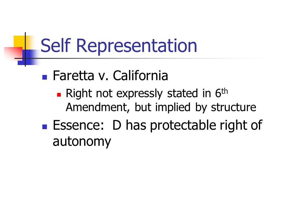 Self Representation Faretta v. California Right not expressly stated in 6 th Amendment, but implied by structure Essence: D has protectable right of a