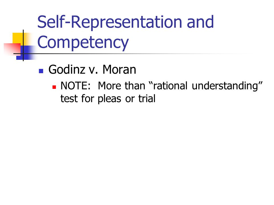 """Self-Representation and Competency Godinz v. Moran NOTE: More than """"rational understanding"""" test for pleas or trial"""
